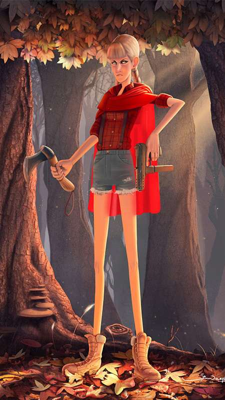 Badass Red Riding Hood Concept Mobile Vertical fond d'écran