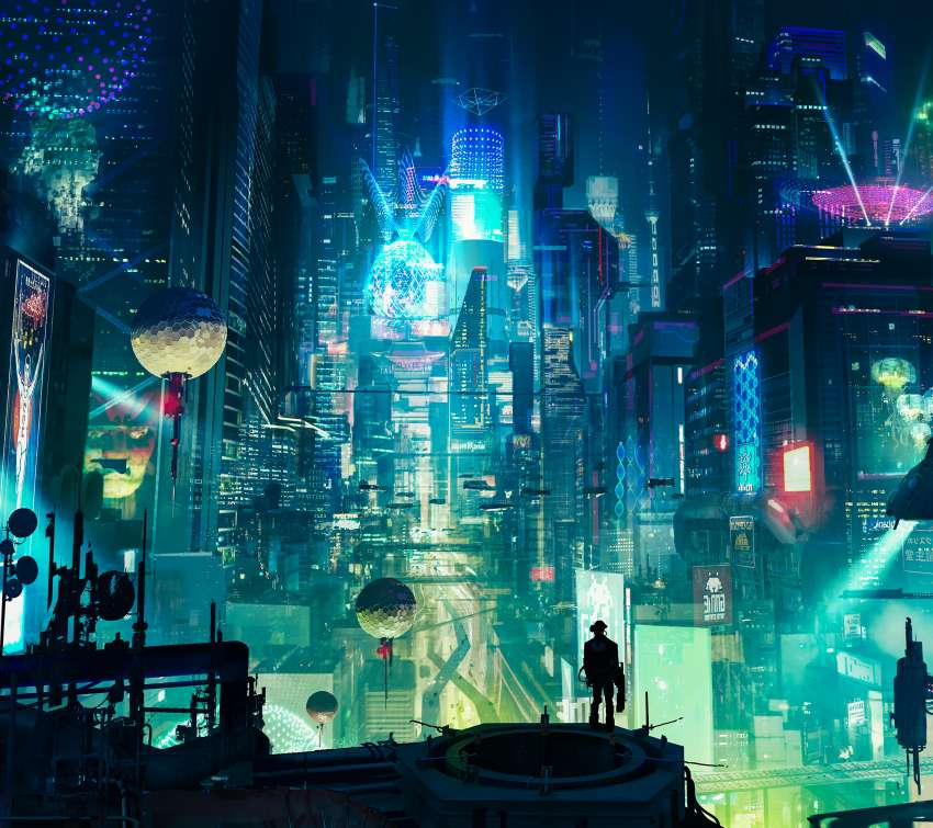Cyberpunk City Mobile Horizontal fond d'écran