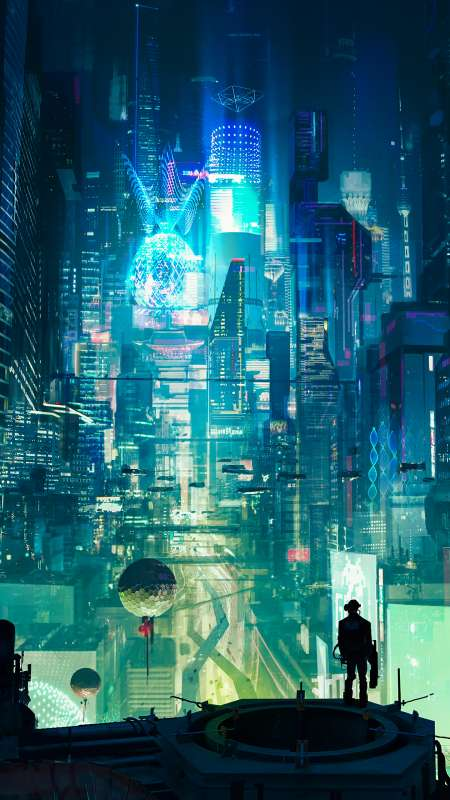 Cyberpunk City Mobile Vertical fond d'écran