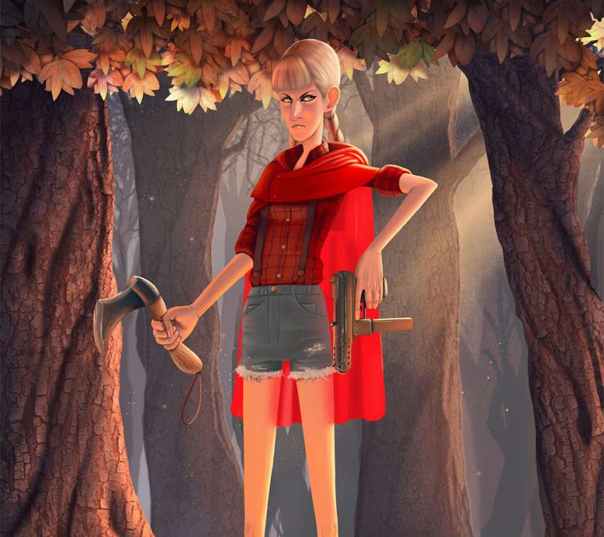 Badass Red Riding Hood Concept Mobile Horizontal fond d'écran