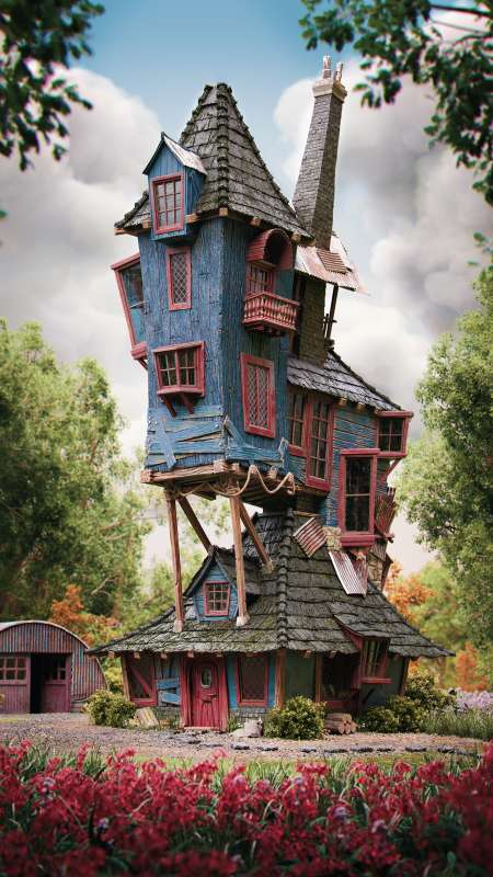 Harry Potter - The Burrow, Weasley's family home Mobile Vertical fond d'écran
