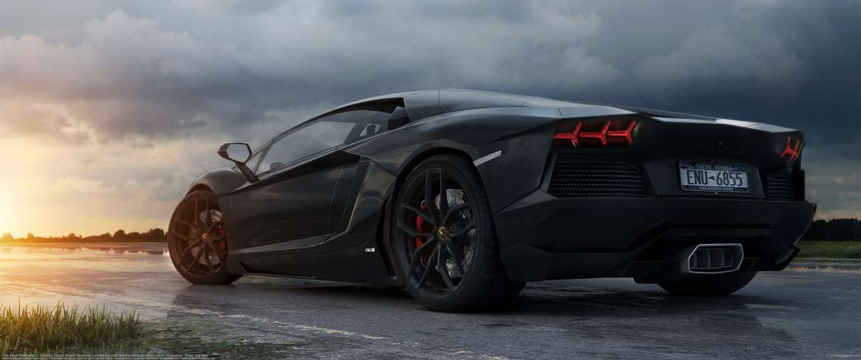 The Black Aventador ultralarge fond d'écran